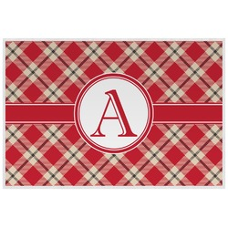 Red & Tan Plaid Laminated Placemat w/ Initial