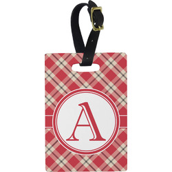 Red & Tan Plaid Rectangular Luggage Tag (Personalized)