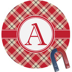 Red & Tan Plaid Round Fridge Magnet (Personalized)