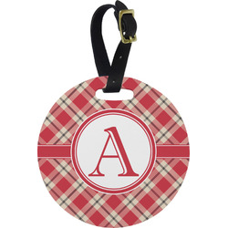 Red & Tan Plaid Round Luggage Tag (Personalized)