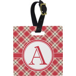 Red & Tan Plaid Square Luggage Tag (Personalized)