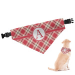 Red & Tan Plaid Dog Bandana (Personalized)