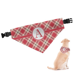 Red & Tan Plaid Dog Bandana - Large (Personalized)