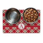 Red & Tan Plaid Dog Food Mat (Personalized)