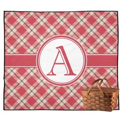 Red & Tan Plaid Outdoor Picnic Blanket (Personalized)
