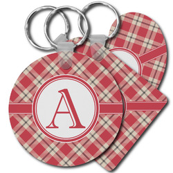 Red & Tan Plaid Plastic Keychains (Personalized)