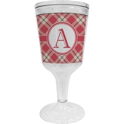 Red & Tan Plaid Wine Tumbler - 11 oz Plastic (Personalized)
