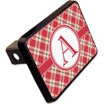 """Red & Tan Plaid Rectangular Trailer Hitch Cover - 2"""" (Personalized)"""