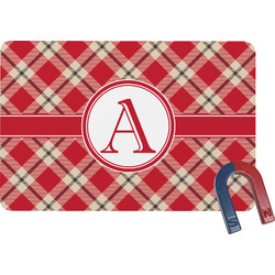 Red & Tan Plaid Rectangular Fridge Magnet (Personalized)