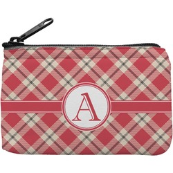 Red & Tan Plaid Rectangular Coin Purse (Personalized)