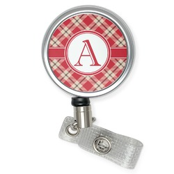 Red & Tan Plaid Retractable Badge Reel (Personalized)