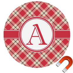 Red & Tan Plaid Car Magnet (Personalized)