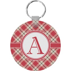 Red & Tan Plaid Round Keychain (Personalized)