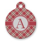 Red & Tan Plaid Round Pet Tag (Personalized)