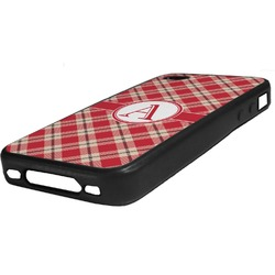 Red & Tan Plaid Rubber iPhone Case 4/4S (Personalized)