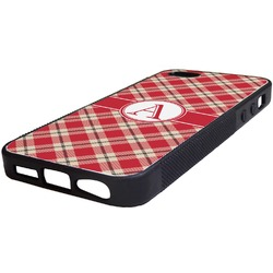 Red & Tan Plaid Rubber iPhone 5/5S Phone Case (Personalized)