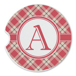 Red & Tan Plaid Sandstone Car Coasters (Personalized)
