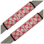 Red & Tan Plaid Seat Belt Covers (Set of 2) (Personalized)