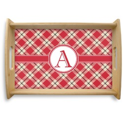 Red & Tan Plaid Natural Wooden Tray (Personalized)