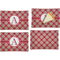 Red & Tan Plaid Set of 4 Glass Rectangular Appetizer / Dessert Plate (Personalized)