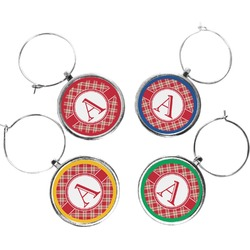 Red & Tan Plaid Wine Charms (Set of 4) (Personalized)