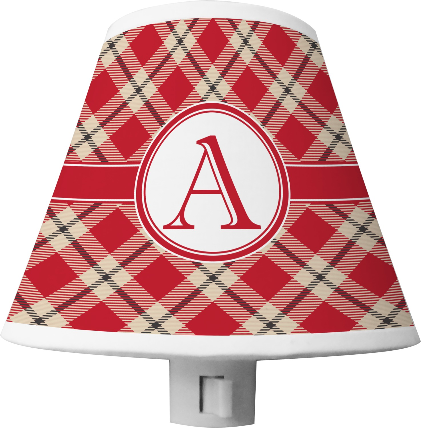 Red Amp Tan Plaid Shade Night Light Personalized