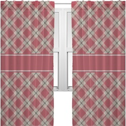 Red & Tan Plaid Sheer Curtains (Personalized)