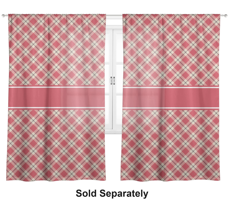 Red Tan Plaid Sheer Curtains