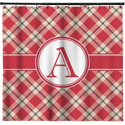 Red & Tan Plaid Shower Curtain (Personalized)
