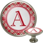 Red & Tan Plaid Cabinet Knob (Silver) (Personalized)