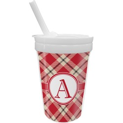 Red & Tan Plaid Sippy Cup with Straw (Personalized)