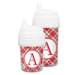 Red & Tan Plaid Sippy Cup (Personalized)