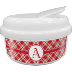 Red & Tan Plaid Snack Container (Personalized)