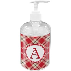 Red & Tan Plaid Soap / Lotion Dispenser (Personalized)