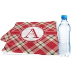 Red & Tan Plaid Sports & Fitness Towel (Personalized)