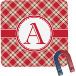 Red & Tan Plaid Square Fridge Magnet (Personalized)