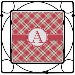 Red & Tan Plaid Square Trivet (Personalized)