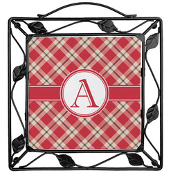 Red & Tan Plaid Trivet (Personalized)
