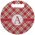 Red & Tan Plaid Stadium Cushion (Round) (Personalized)