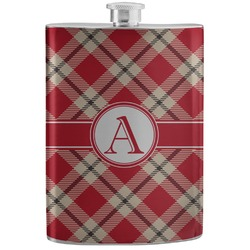 Red & Tan Plaid Stainless Steel Flask (Personalized)
