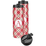 Red & Tan Plaid Stainless Steel Skinny Tumbler (Personalized)