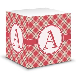 Red & Tan Plaid Sticky Note Cube (Personalized)