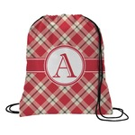 Red & Tan Plaid Drawstring Backpack (Personalized)