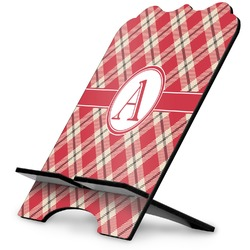 Red & Tan Plaid Stylized Tablet Stand (Personalized)