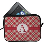 Red & Tan Plaid Tablet Case / Sleeve (Personalized)
