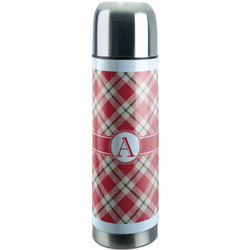 Red & Tan Plaid Stainless Steel Thermos (Personalized)