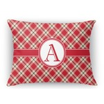 Red & Tan Plaid Rectangular Throw Pillow Case (Personalized)