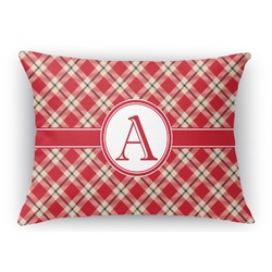 "Red & Tan Plaid Rectangular Throw Pillow Case - 12""x18"" (Personalized)"