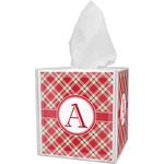 Red & Tan Plaid Tissue Box Cover (Personalized)