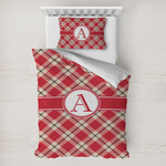 Red & Tan Plaid Toddler Bedding w/ Initial
